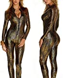 GYH Wdj Sexy Damen Latex Wet Look Zip Catsuit Schlangenhaut Bodysuits Leder Clubkleidung,Brass,S
