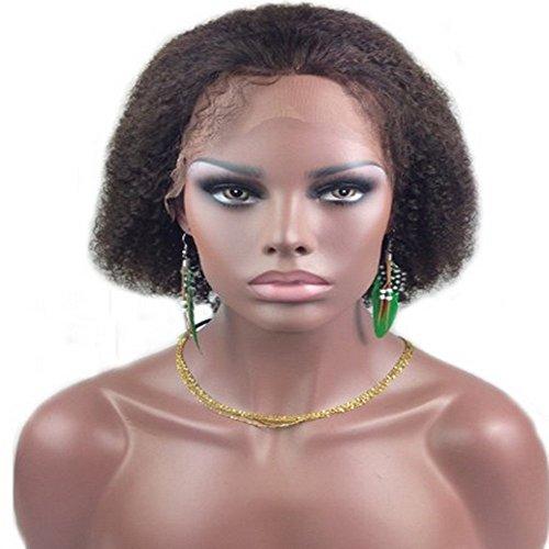 drasawee 20,3 cm Afro perruque Lace Front Bouclée 100% cheveux naturels indiens Remy courtes perruques en dentelle 2 # brun foncé