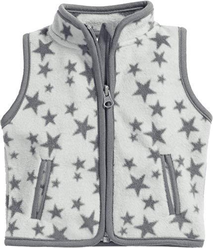 Schnizler Fleece-Weste Sterne Gilet, Grigio (Grau 33), 68 Unisex-Bimbi