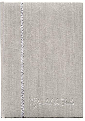 Stammbuch KAPUA, hellgrau, Leinenstruktur, weiße Prägung, Stammbuchformat (70269RW)