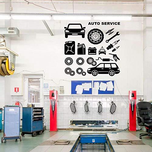 Gummireifen, Reparatur, Autowäsche, Auto, Wandabziehbild, Fenster-Aufkleber, Handgemachter Vinylaufkleber Diy Wandgemälde Imprägniern 57 * 55 Cm ()