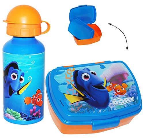 alles-meine.de GmbH 2 TLG. Set _ Lunchbox / Brotdose & Trinkflasche -  Disney - Findet Nemo - Fisch Dory  - mit extra Einsatz / herausnehmbaren Fach - transparent - Brotbüchse .. -