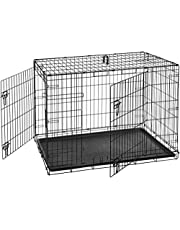 AmazonBasics Double Door Folding Metal Dog Cage with Paw Protector (Large, 42x28x30 inch)