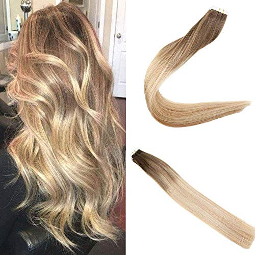 Easyouth Glue in Extensions 20 zoll 50g 20Stück pro Paket Farbe #4/10/16 4 Fading zu 10 Highlight mit 16 Remy Tape in Extensions (Haar-schuss-entferner)