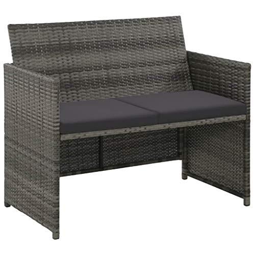 tidyard Lounge Sofa 2-Sitzer Couch aus Poly Rattan, Wetterfesten und Wasserdichten, für Garten, Balkon, Terrasse, 100x56x85cm, Grau