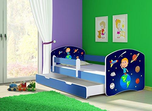 Clamaro \'Fantasia Blau\' 160 x 80 Kinderbett Set inkl. Matratze, Lattenrost und mit Bettkasten Schublade, mit verstellbarem Rausfallschutz und Kantenschutzleisten, Design: 22 Weltall