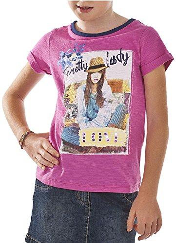 Bimbus - Maglietta T-Shirt Mm Jersey Malfile con Stampa, Porpora (085 Ciclamino), 5 Anni (110 cm)
