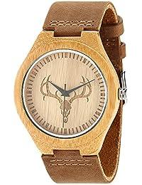 Hombres de bambú de madera muñeca relojes por wonbee con correa de piel de vaca Natural & diseño de cabeza de ciervo, color marrón, se envía en una caja, Bono 2pulseras de madera