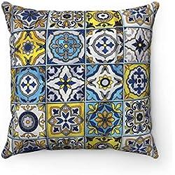 Moroccanity 43 x 43 cm, Funda de cojín geométrica con diseño de Azulejos marroquíes para sofá, Cama, Regalo de español, Color Azul y Amarillo