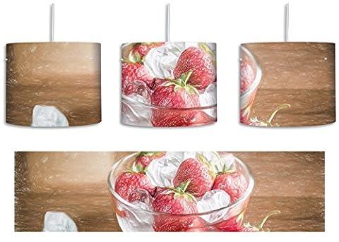 Frische Erdbeeren in Eiswürfeln Bunstift Effekt inkl. Lampenfassung E27, Lampe mit Motivdruck, tolle Deckenlampe, Hängelampe, Pendelleuchte - Durchmesser 30cm - Dekoration mit Licht ideal für Wohnzimmer, Kinderzimmer, Schlafzimmer