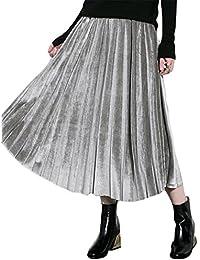 16d93335bfa8 Blansdi Damen Mädchen Frauen Frühling Herbst Jahrgang Beiläufig Klassiker  einfarbig elastische Taille Samt Falten A-