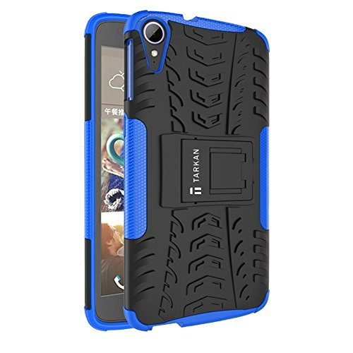 TARKAN Dazzle Hard Armor Hybrid Rubber Bumper Flip Stand Rugged Back Case Cover For HTC Desire 828 Dual Sim (Blue)