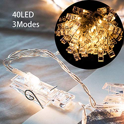 Hengda LED Fotoclips Lichterkette,Warmweiß,3 Modi 40 Foto-Clips,4.2 Meter, Dekoration für Zimmer deko,Wohnzimmer, Weihnachten, Party