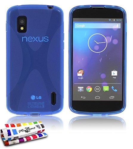 muzzano original x-cover flessibile, per lg nexus 4, colore: blu