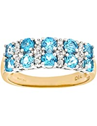 Naava Women's 9 ct Yellow Gold Claw Set Diamond and Blue Topaz Eternity Ring