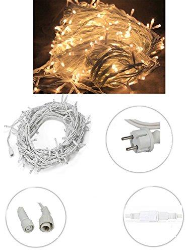 Vetrineinrete® Luci natalizie led per esterno prolungabile serie da 100 led luce calda catena luminosa 10 metri filo bianco in gomma addobbi e decorazioni natalizi P40