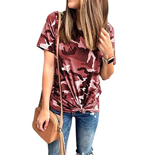 YEZIJIANG Heißer Große Große Damen Camouflage T-Shirt Rundhals Kurzarm Sommer Shirt Locker Oberteile Oversize Basic Tops Baumwolle Bluse Knoten S-5XL