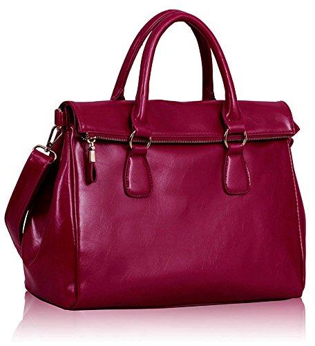 2c3d856e40d Womens Handbags Ladies Fashion Shoulder Bag Grab Tote Handbags Hot Selling  Leesun London Bags Faux Leather Bag (ZC - Fuchsia)