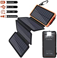 Oxsaytee 25000mah Portable Solar Power Bank with Multifunction Flashlight, 4 Foldable Solar Panels solar charg