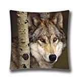 Watcher In The Woods Grey Wolf Square Zippered Pillow Cover 18x18 inches (Twin sides) AnasaC25772