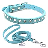 TFENG Halsband mit Leash für Hunde und Katzen, Classic Baumwolle Einstellbare Katzenhalsband Welpen HundeHalsband