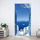 livingdecoration Türtapete Santorini 86 x 200 cm Meer Tor Weiß Blau Türkis Treppen Griechenland Tapete Fototapete inklusive Kleister
