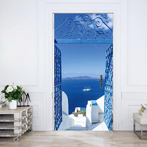 murimage Türtapete Santorini 86 x 200 cm Meer Tor Weiß Blau Türkis Treppen Griechenland Mittelmeer Fototapete Kleister