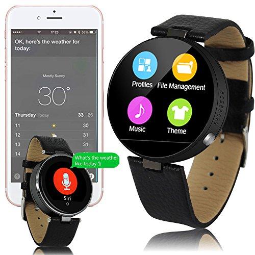 inDigi # 1Geschenkidee Elegante Unisex-runde Leder Smart Watch (Bluetooth 4.0+ Push-Benachrichtigungen + Herzfrequenz + Dialer) (Gsm Unlocked Quadband-handy)