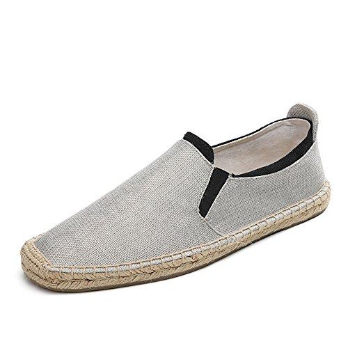 Leinen-loafer (HUAN Herrenschuhe Leinen Frühling Sommer Herbst Komfort Loafers & Slip-Ons für Casual Weiß Blau (Color : C, Größe : 42))