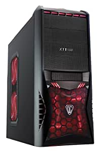 CiT Vantage Type-R Gaming Case with HD Audio, 4 Fans, Card Reader and No PSU - Black