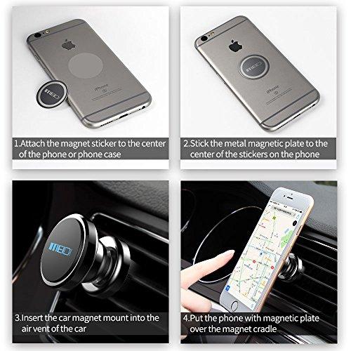 Support GPS Dispositifs Huawei MingHuo Aimant Telephone Voiture Universel Support T/él/éphone Voiture magn/étique Support Telephone 360 /° Titulaire Rotatif pour iPhone Samsung Mi Noir Brillant