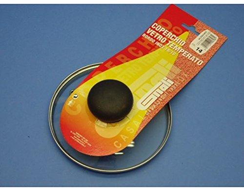 Coperchio in vetro temperato con pomolo per pentole casseruole con diam 14 Cm