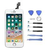 Yokimico Écran Tactile pour iPhone 5S / SE LCD Display Écran de Remplacement Écran LCD Retina Tout Assemblé Complet sur Chassis Pour iPhone 5S / SE avec Outils de Réparation Blanc