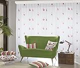 """Maßgeschneiderte weiße Scherli Voile Store Gardine """"Schmetterlinge"""" Kräuselband, Gardinen nach Maß, Vorhang nach Maß, Höhe: 90–295cm (Rot, 255 x 1000 cm/HxB)"""