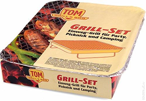 51480UE9wbL - 5 x TOM Grill & BBQ Einweggrill Set mit Kohle und Anzünder