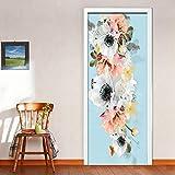 3D Pvc Impermeabile Autoadesiva Fiore Fresco Foto Wallpaper Porta Adesivo Murale Soggiorno Arredamento Camera Da Letto Decalcomanie 77X200Cm