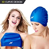 ZIONOR 3D Fashionable Style Silicone Swim Cap - Large Wrinkle-free Soft Comfortable Swimming Cap with Ear Cover for Medium to Long Hair Ladies Women Men Junior Swimming Hats