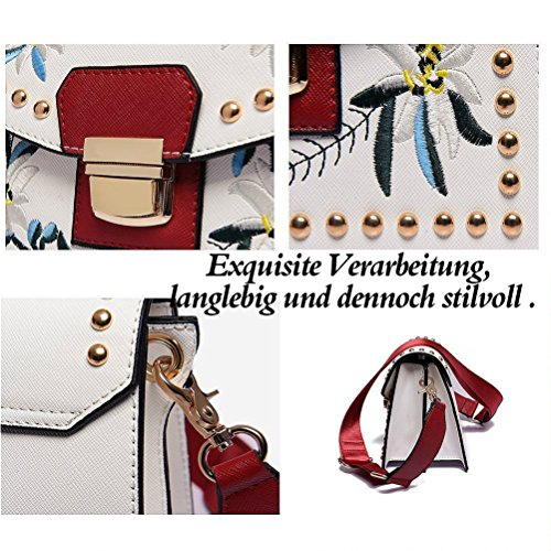 Honeymall ricamato piccolo Borsa a Tracolla Borse a Spalla Donna borsa del Tote Vintage rimontabile Cinghie Borsa Valigetta da Ufficio Nero Bianco