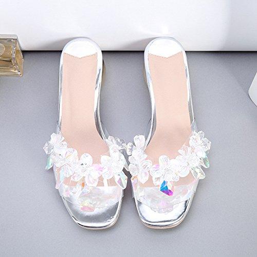 ZYUSHIZ Mme Le diamant synthétique sandales avec profil bas avec le confort des pantoufles sandales 35EU