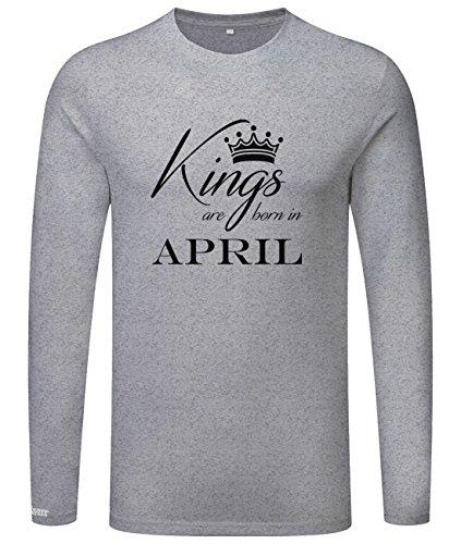 Kings are born in April - Geburtstag - Herren Langarmshirt Grau Meliert