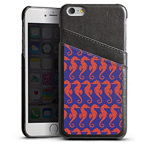 Apple iPhone 5s Housse Étui Protection Coque Hippocampe Été Vacances Étui en cuir gris