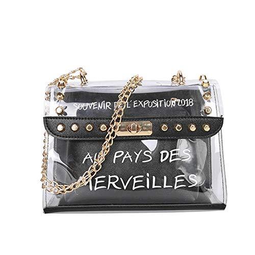 Rokoo Frauen Dame Tasche klar Handtasche Crossbody verbundbeutel transparent PVC Kette Tasche Tote Black Transparent Tasche