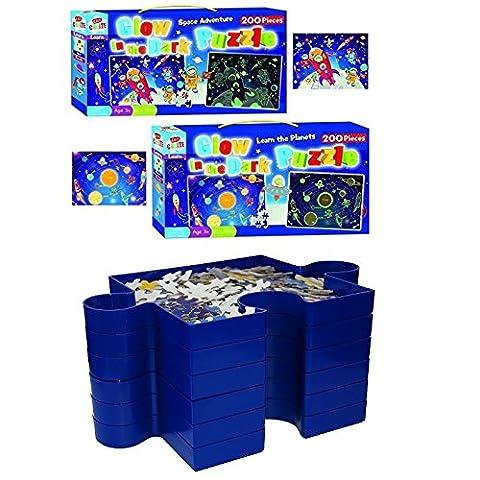 crazygadgetâ ® Puzzle 6stapelbar Sortieren Tabletts und Glow in the Dark Puzzle 2Boxen Set Stack & Sortieren und Rätsel Boxen (Space Adventure & Lernen Die Planeten) Kinder Spielzeug Spiel Geschenk Weihnachten (Stapelbare Teile)