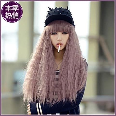 Lange Wellte lockige Haare Perücke mit Pony volle gewellte Cosplay Kostueme schöne Locken und Pony 70cm