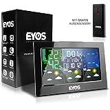 EYOS Funk Wetterstation Außensensor - Digitaler Thermometer und Hygrometer - für Innen/-Außentemperatur/Uhrzeit/Luftfeuchtigkeit/Mondphase