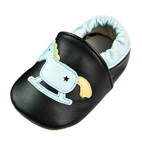 Free Fisher Baby Jungen/Mädchen Babyschuhe Lauflernschuhe Krabbelschuhe, Blau Schaukelpferd auf Schwarz, 12-18 Monate