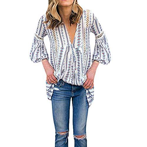 TianWlio Langarm Bluse Damen Frauen Mode Lässige Langarm V-Ausschnitt Spitze Stitch aushöhlen Floral Bedruckt Shirt Tops Bluse