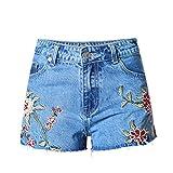 Mini Damen Shorts Kleine Falten 3D Stickerei Seitliche Gabel Hohe Taille Stretch Denim Freizeit Jeans Slim Hot Pants Blue 40