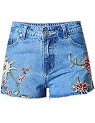 Shorts Pour Femmes Petites Rides Broderie En 3D Fourche Latérale En Denim À Taille Haute Jeans De Loisirs Slim Hot Pantalon