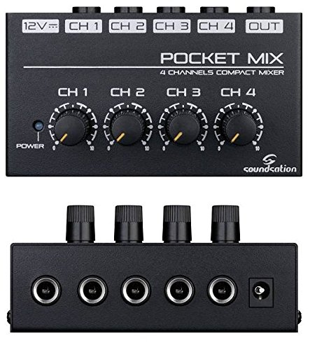 Mini Mixer a 4 Canali con Alimentatore PocketMix - 4 Canali Mini Mixer